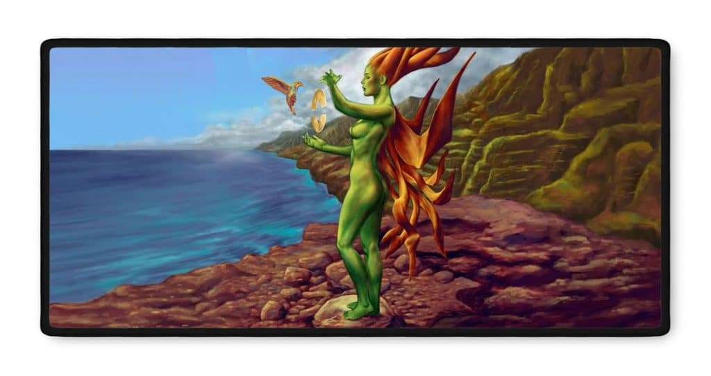 Ena Ethereal fantasy art gamer mousepad 16x35
