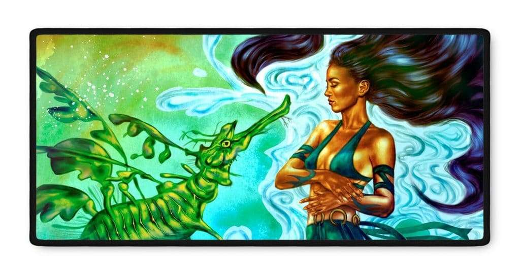 Kiana Dragon fantasy art gamer mousepad 16x35